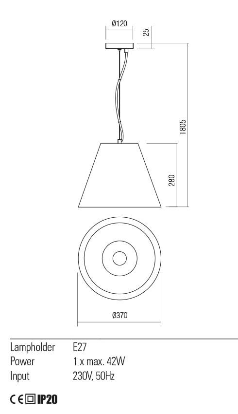 Redo 01-2215 TESSA lámpa függeszték