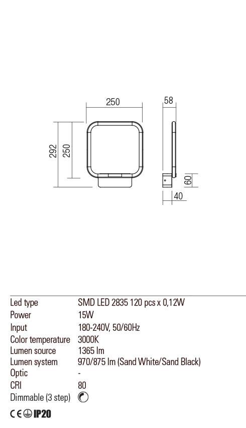 Redo 01-2095 THAI LED fali lámpa