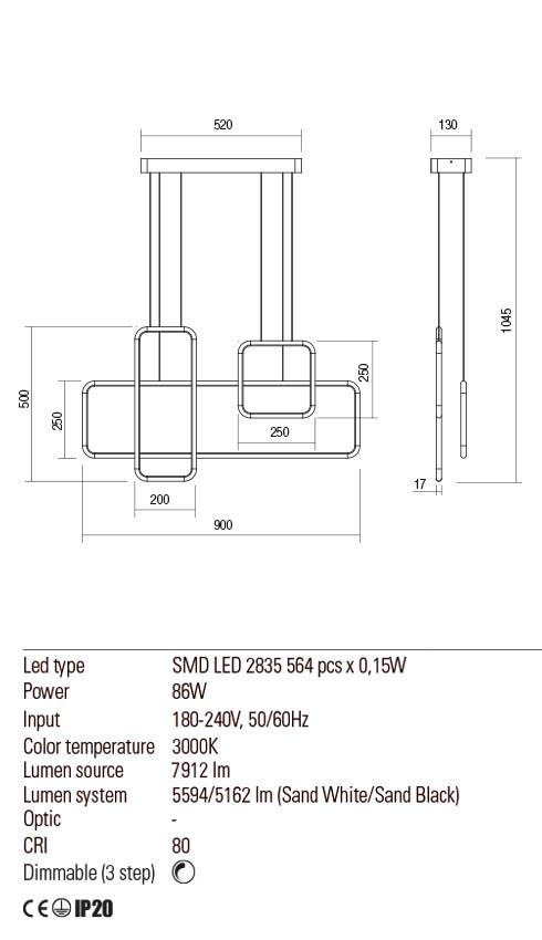 Redo 01-2100 THAI LED lámpa függeszték