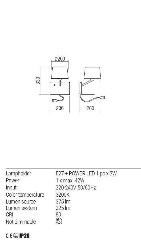 Redo 01-1807 TOMO LED karos fali lámpa