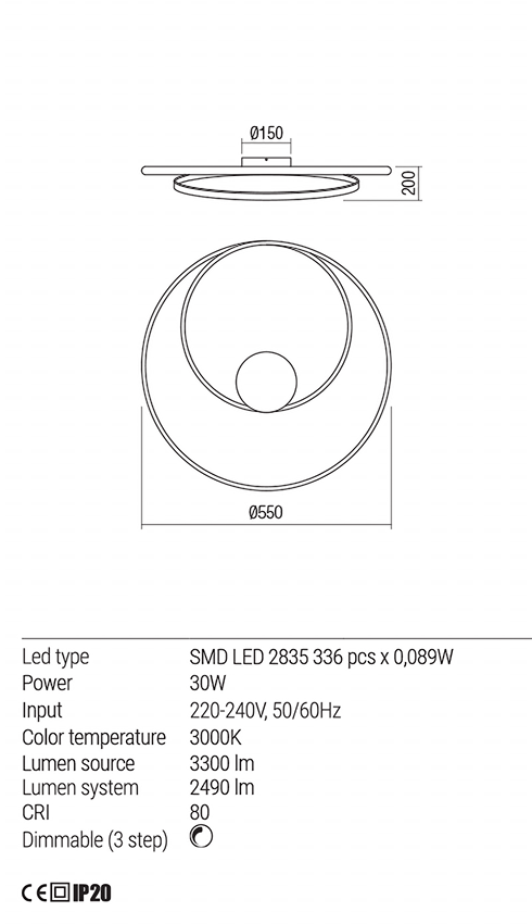 Redo 01-1792 TORSION LED mennyezeti lámpa