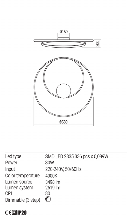 Redo 01-1887 TORSION LED mennyezeti lámpa