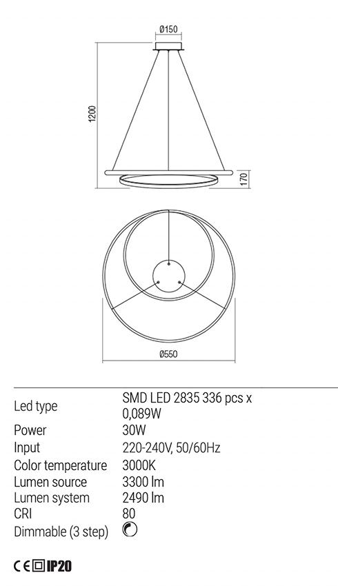 Redo 01-1793 TORSION LED lámpa függeszték