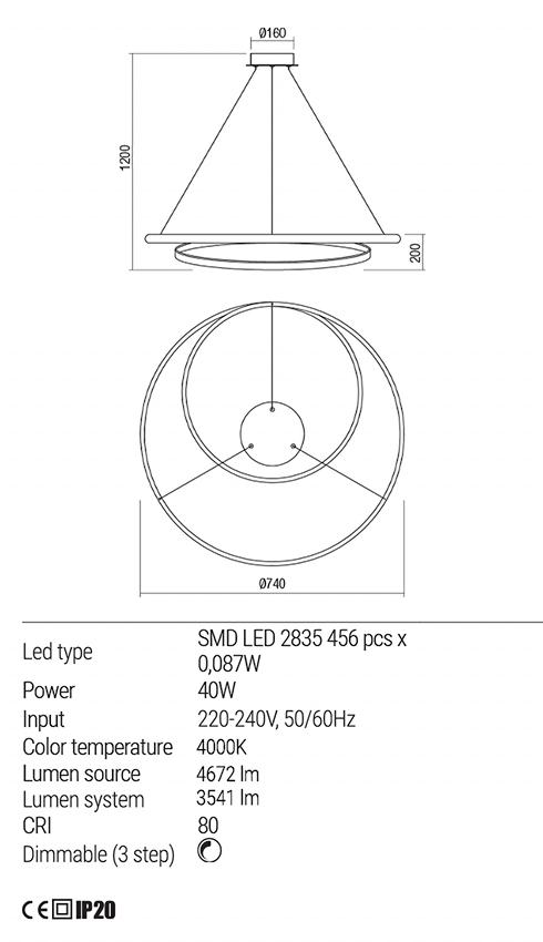 Redo 01-1891 TORSION LED lámpa függeszték