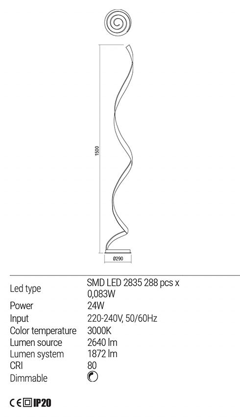 Redo 01-1797 TORSION LED állólámpa