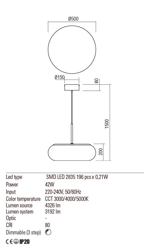 Redo 01-2234 UBIS LED lámpa függeszték