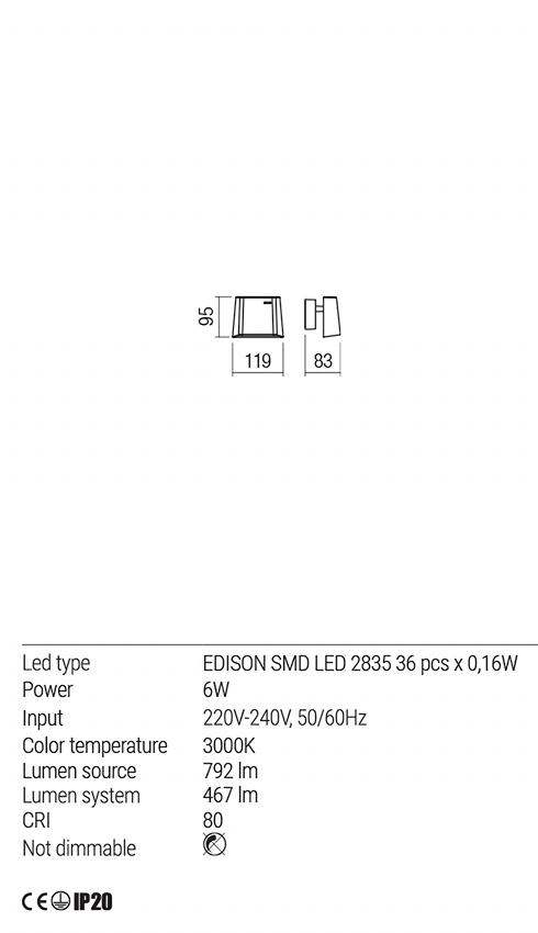 Redo 01-1604 VIDAL LED fali lámpa