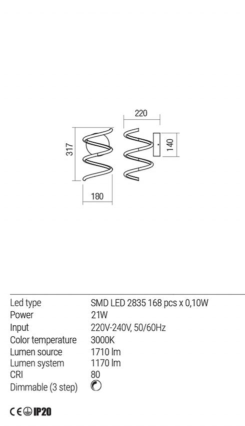 Redo 01-1774 VUELTA LED fali lámpa