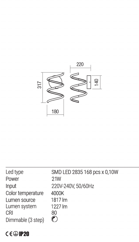 Redo 01-1851 VUELTA LED fali lámpa