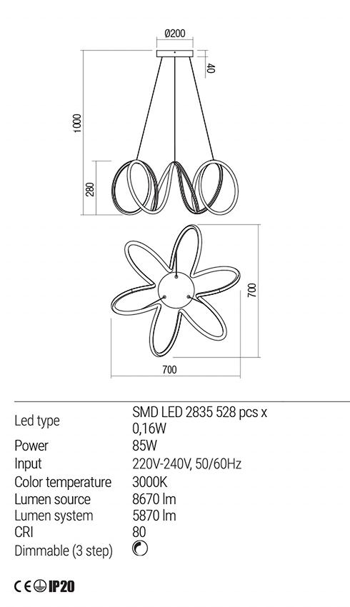 Redo 01-1777 VUELTA LED lámpa függeszték