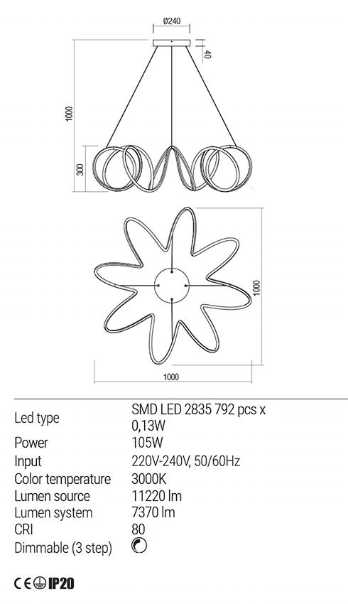 Redo 01-1778 VUELTA LED lámpa függeszték