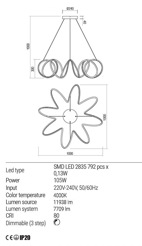 Redo 01-1856 VUELTA LED lámpa függeszték