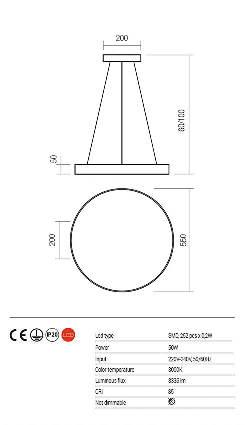 Redo 01-1129 ZOOM LED lámpa függeszték