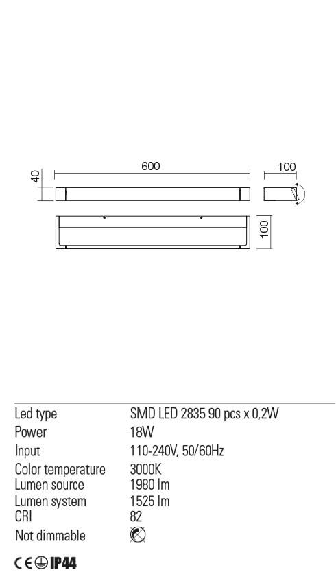 Redo 01-2294 FLIPPER LED fürdőszobai lámpa