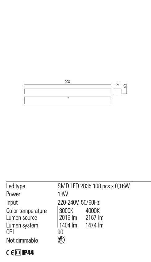 Redo 01-2330 TASK LED fürdőszobai lámpa