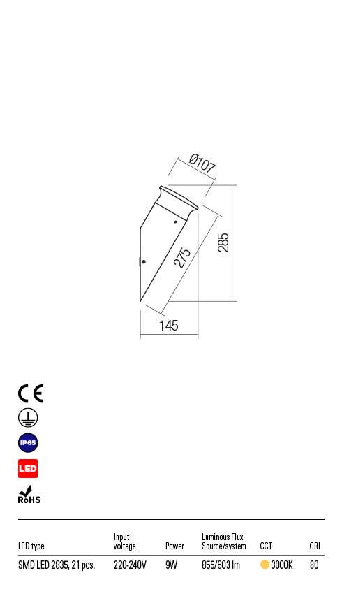 Redo ALGON 90171 LED Kültéri fali lámpa