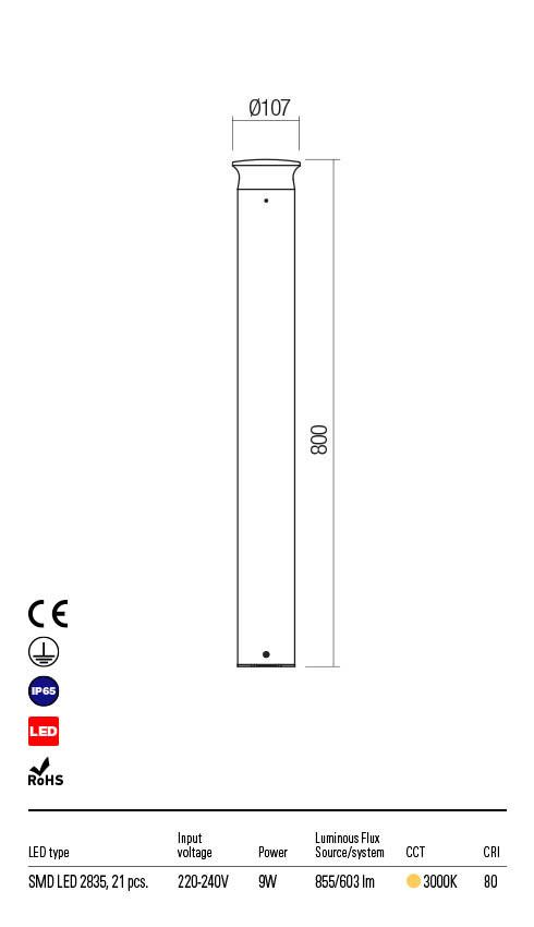 Redo ALGON 90074 LED Kültéri állólámpa