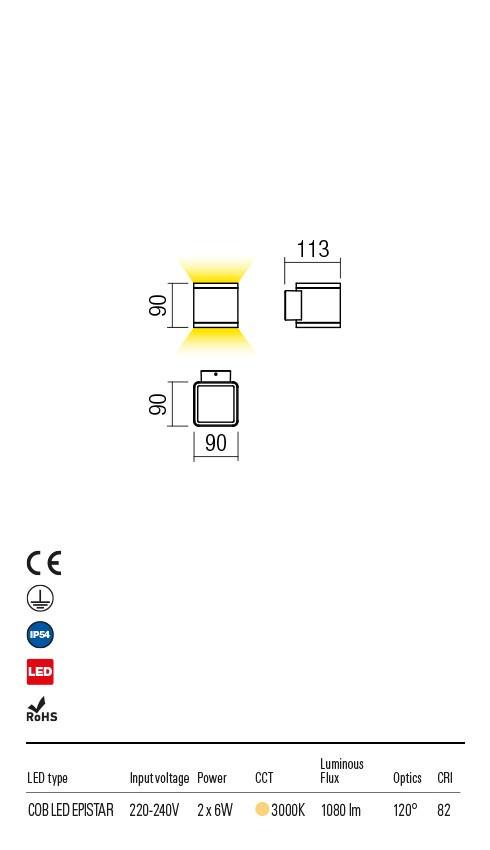 Redo 9065 Beta LED Kültéri fali lámpa