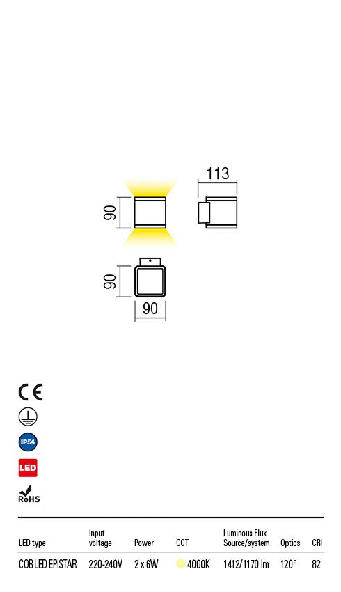 Redo 9068 Beta LED Kültéri fali lámpa