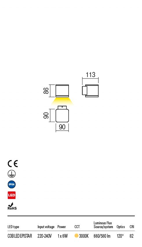 Redo 9069 Beta LED Kültéri fali lámpa