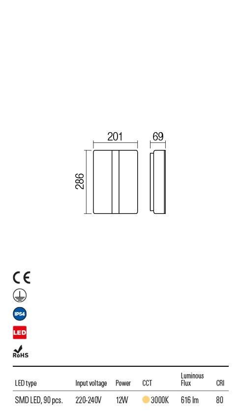 Redo 90025 Breda LED Kültéri fali lámpa