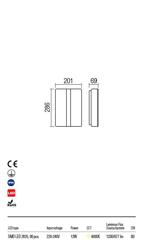 Redo 90026 Breda LED Kültéri fali lámpa