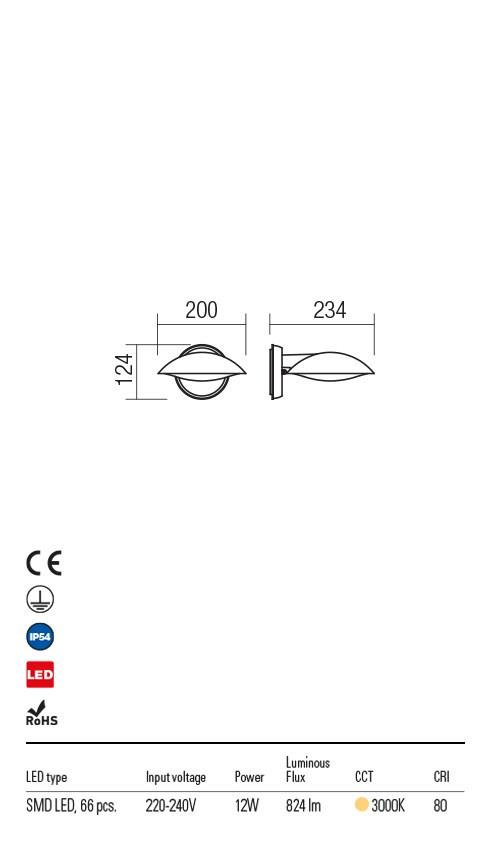 Redo 9617 Capp LED Kültéri fali lámpa