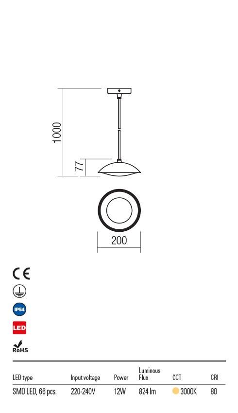 Redo 9618 Capp LED Kültéri függeszték