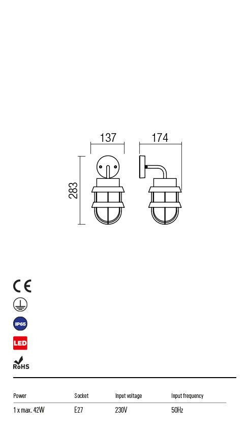 Redo 9498 Claut Kültéri fali lámpa