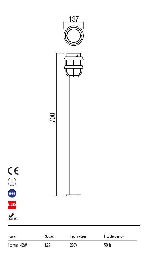 Redo 9499 Claut Kültéri állólámpa