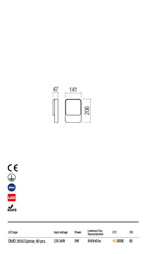 Redo COLIN 90129 LED Kültéri fali lámpa