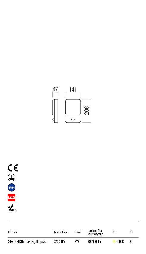 Redo COLIN 90134 LED Kültéri fali lámpa