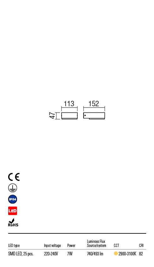 Redo 9560 Cube LED Kültéri fali lámpa