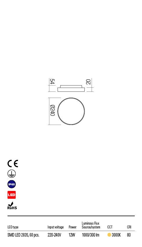 Redo DISCUS 90065 LED Kültéri fali lámpa