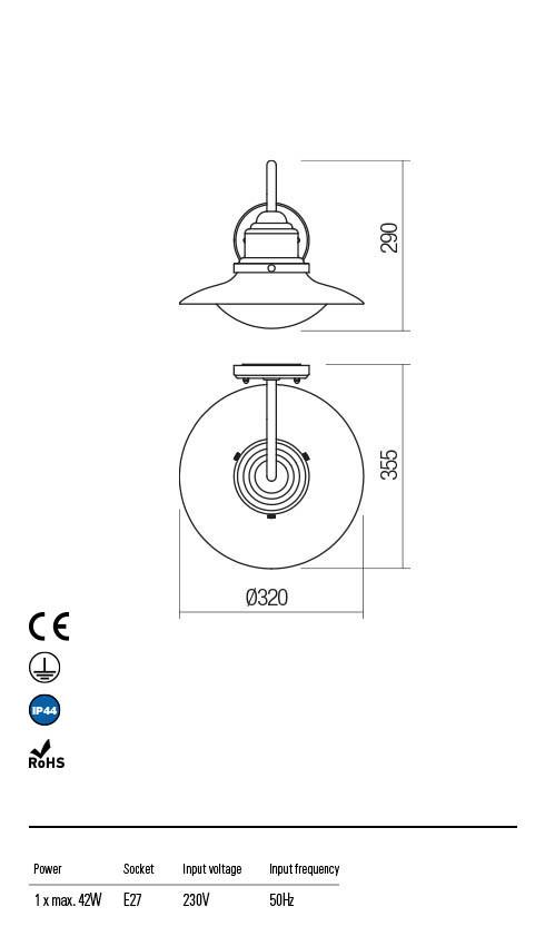 Redo ELIO 90093 Kültéri fali lámpa