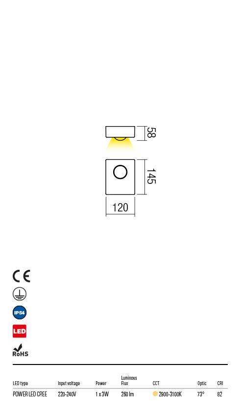 Redo 9568 Eris LED Kültéri fali lámpa