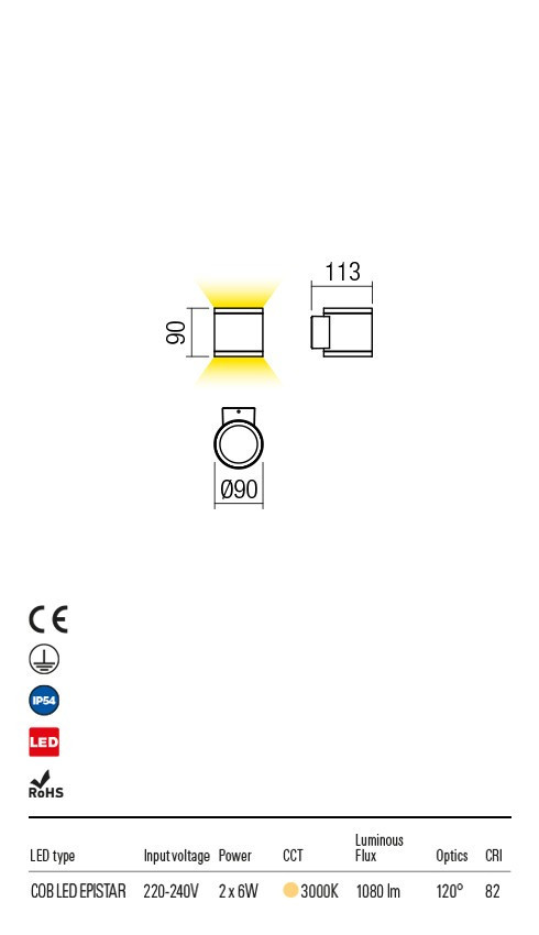 Redo 9592 Eta LED Kültéri fali lámpa