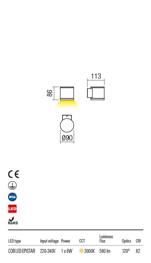 Redo 9596 Eta LED Kültéri fali lámpa
