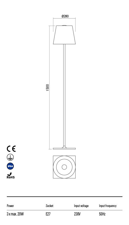 Redo GIORGIO 90058 Kültéri állólámpa