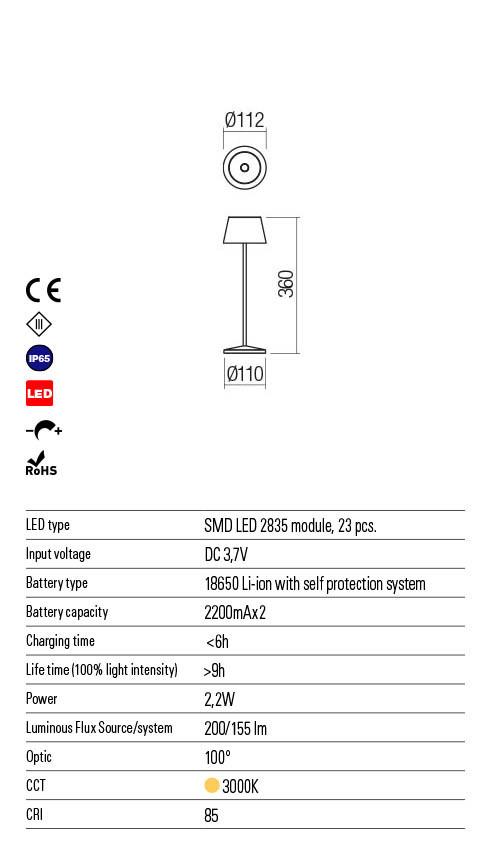 Redo LA NUIT 90136 LED Kültéri asztali lámpa