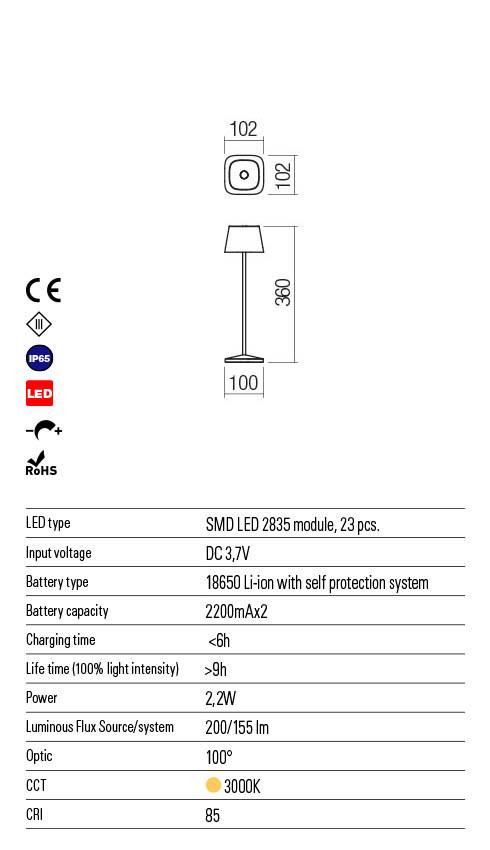 Redo LA NUIT 90147 LED Kültéri asztali lámpa