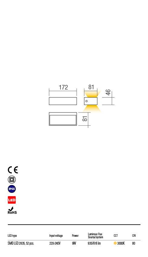 Redo LAMPRIS 90153 LED Kültéri fali lámpa