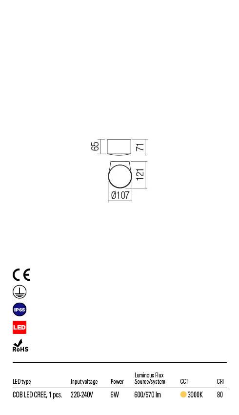 Redo LOG 90061 LED Kültéri fali lámpa