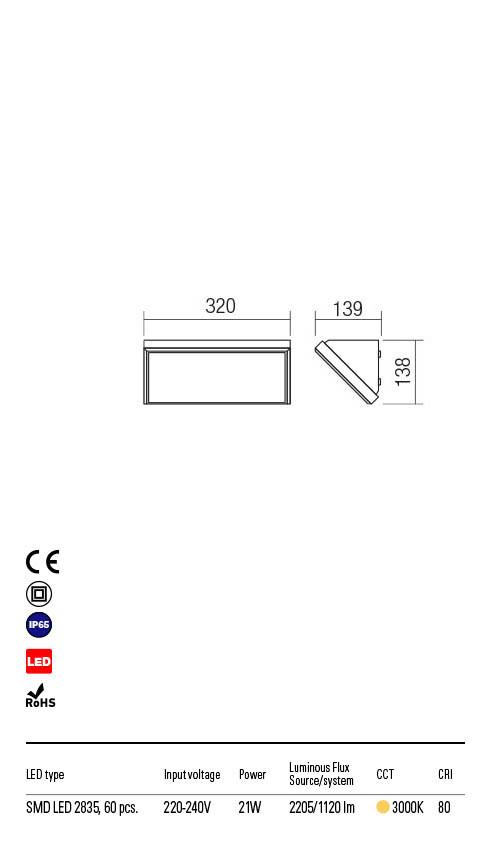 Redo MAKO 90160 LED Kültéri fali lámpa