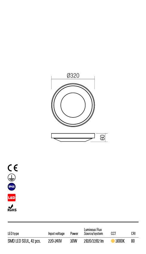Redo OSIRIS 90120 LED Kültéri mennyezeti lámpa