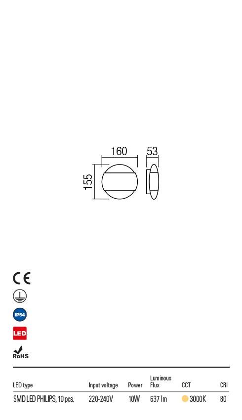 Redo 90028 Owen LED Kültéri fali lámpa