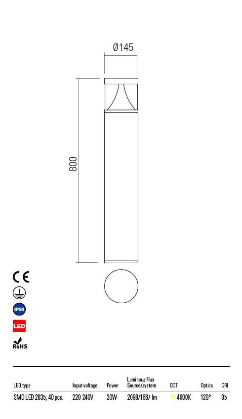Redo PALACE 90164 LED Kültéri állólámpa