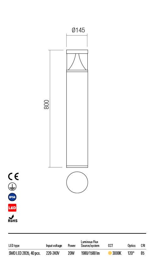 Redo PALACE 90161 LED Kültéri állólámpa