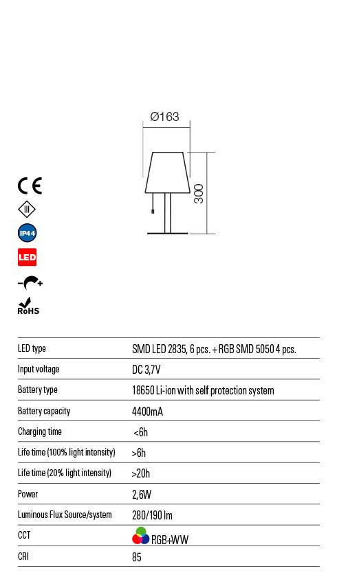 Redo PINO 90165 LED Kültéri asztali lámpa