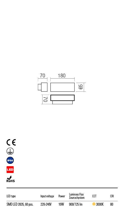 Redo PLANIT 90095 LED Kültéri fali lámpa